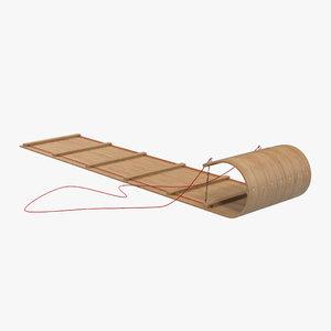 classic wooden toboggan obj