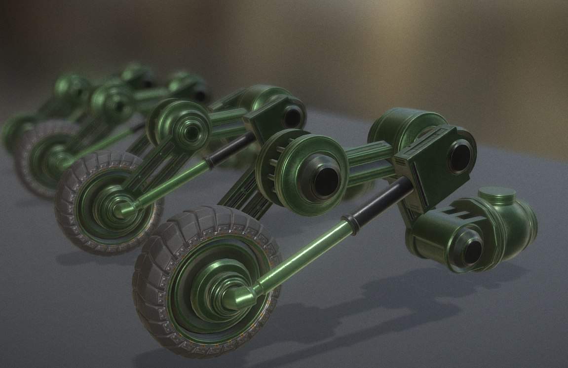 3d model green hydraulic suspension tires