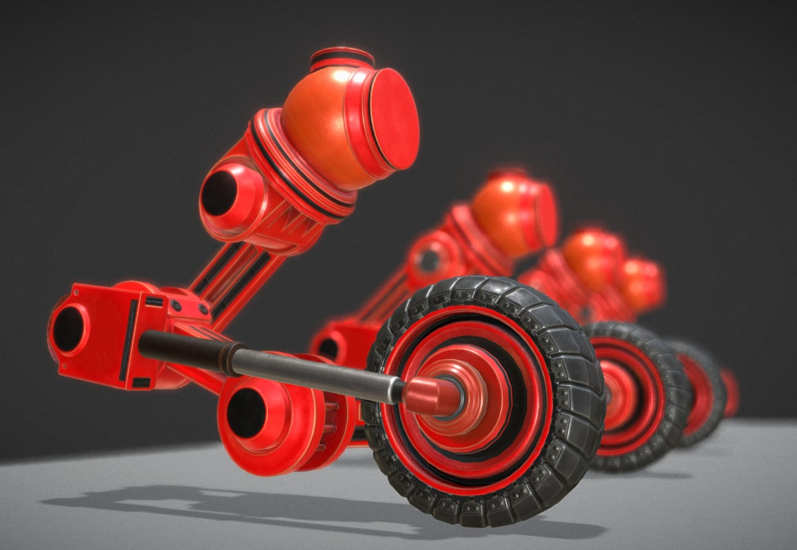 3ds red hydraulic suspension tires