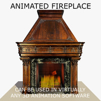 wooden gothic fireplace animation flames c4d