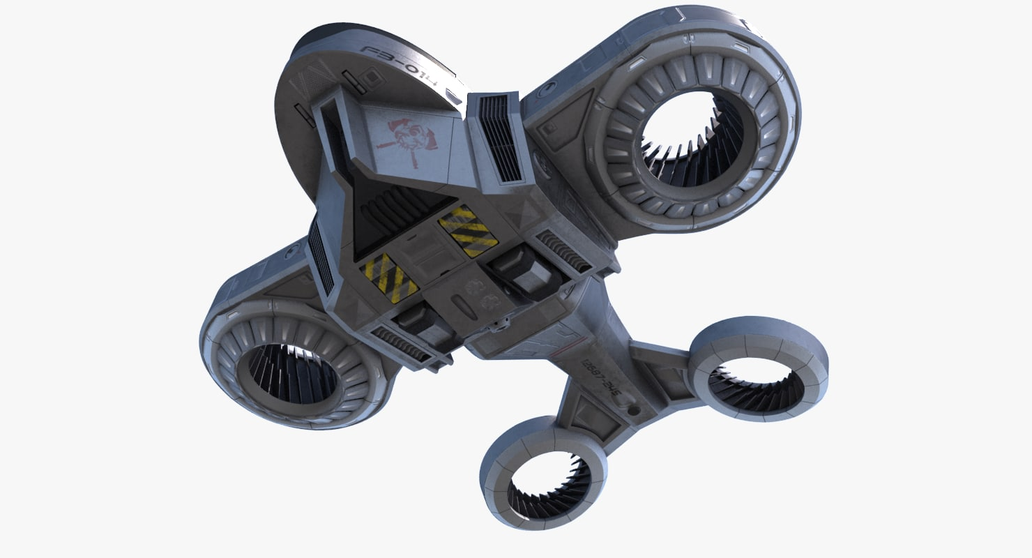 sci-fi drone firefighter obj