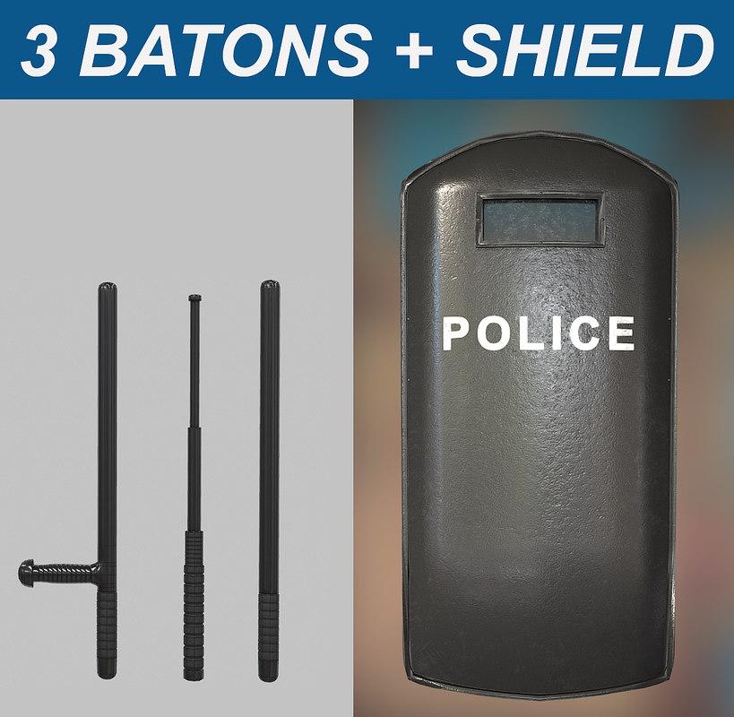 3d model batons shield pack 1
