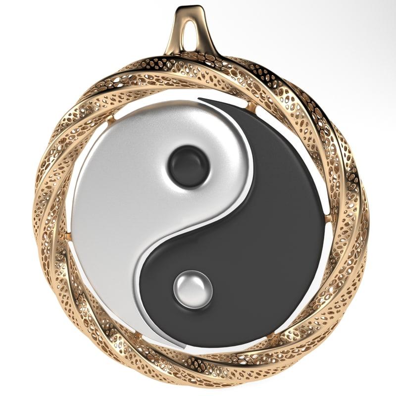 yin yang 3d model