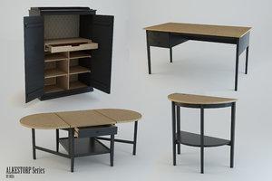 ikea furniture arkelstorp set 3d model