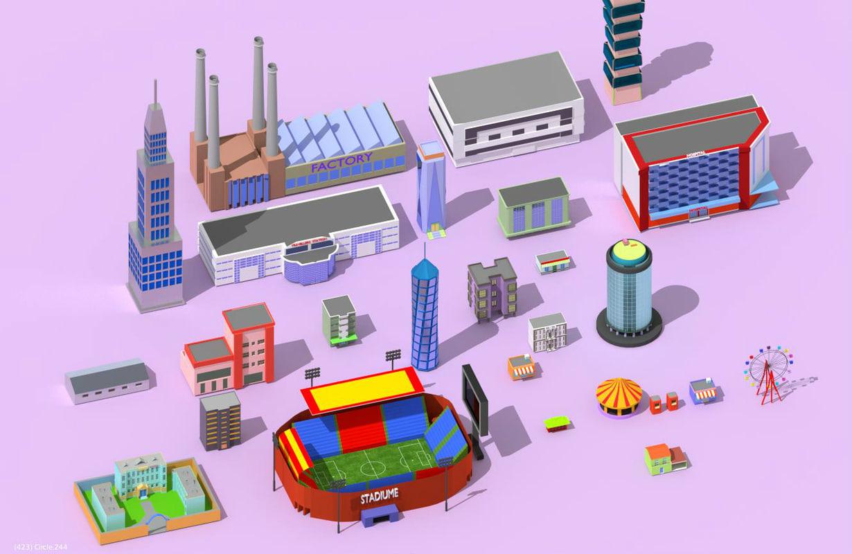 3d buildings city school model