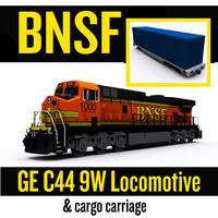 BNSF Locomotive & cargo carriage