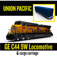 union pacific locomotive cargo 3d model