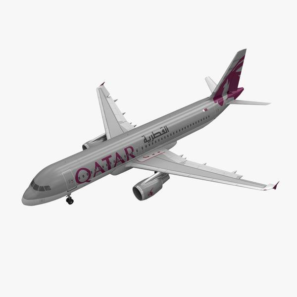airbus a320 qatar airways 3d max