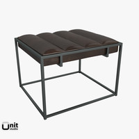 3d model fontanne leather ottoman seat