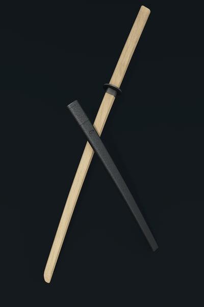 free bokto wooden sword 3d model