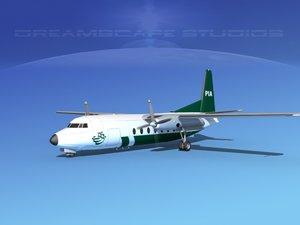 fokker f-27 airliner 3d model