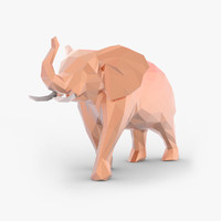 Low Poly Cartoon Elephant