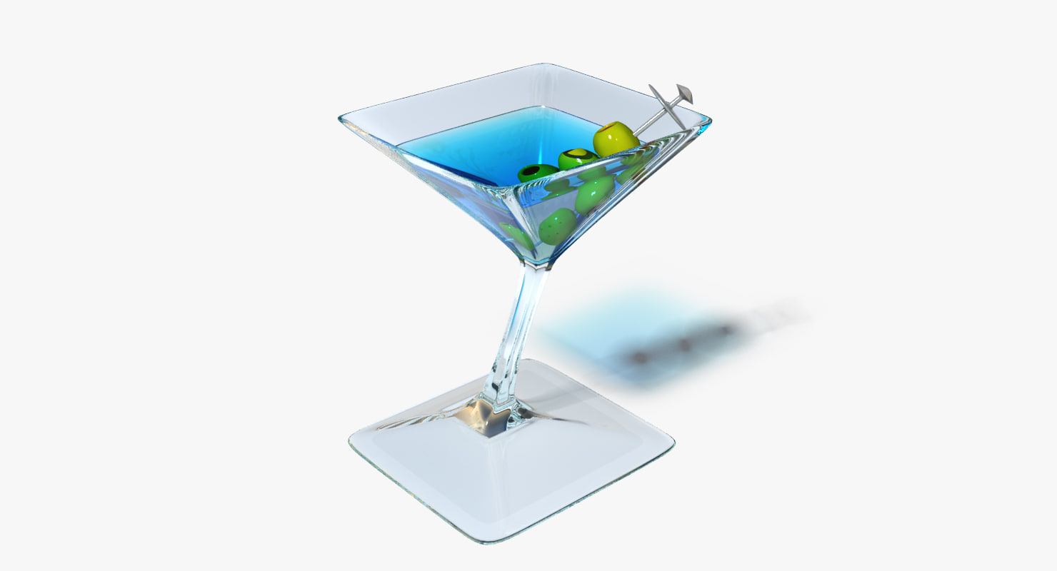 3d blue martini model