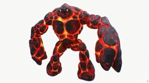 3d model magma golem rigged