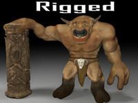 3d tauren character rigg rigged model