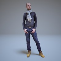 casual man standing people human 3d model