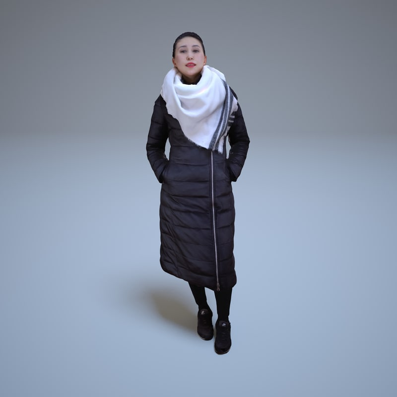 casual asian woman standing 3d model