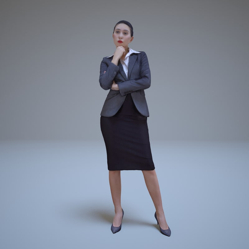 asian woman thinking people human 3d max
