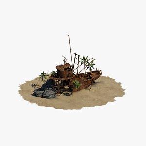 3d model of sunken boat