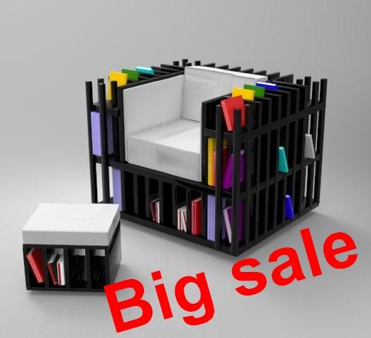 Book Furniture: 3d Max Books Chair Furniture