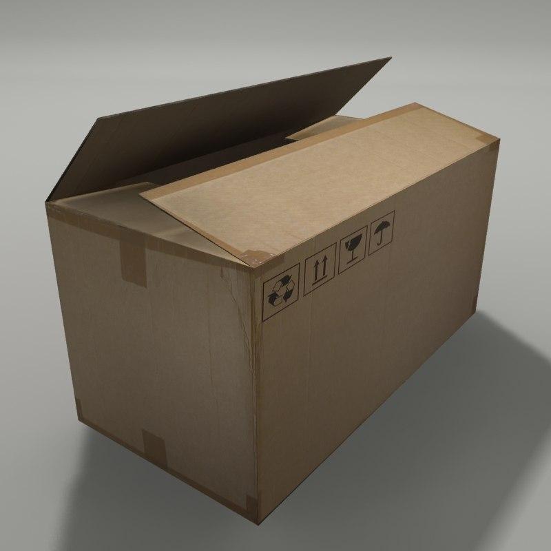 carton box opened 3d model