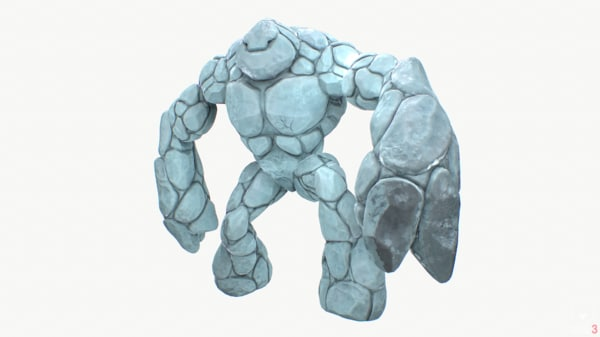 3d model ice golem rigged