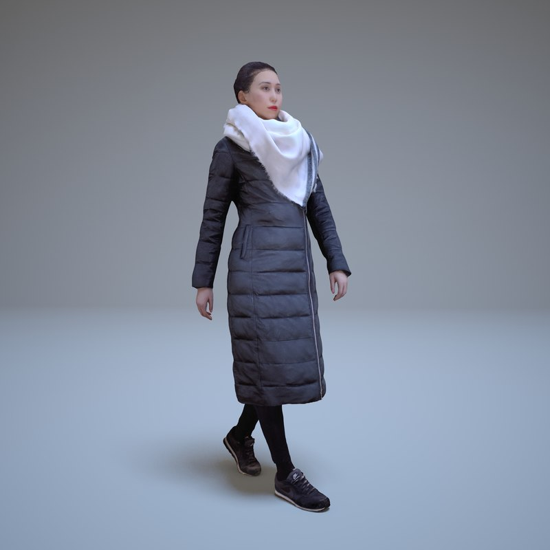 3d casual asian woman walking people model