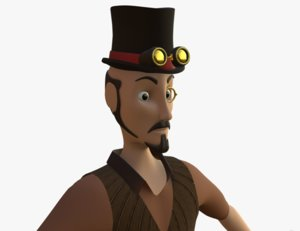 3d model steampunk old man male character