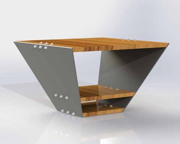 solidworks minimalist wood table 3d 3ds
