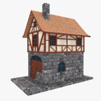 3d model medieval townhouse buildings town