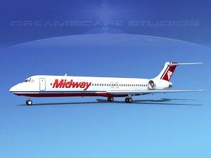 md-87 md-80s jet 3d dxf