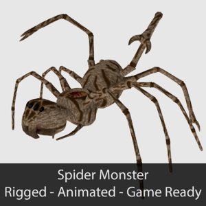 3d ready spider monster animations model