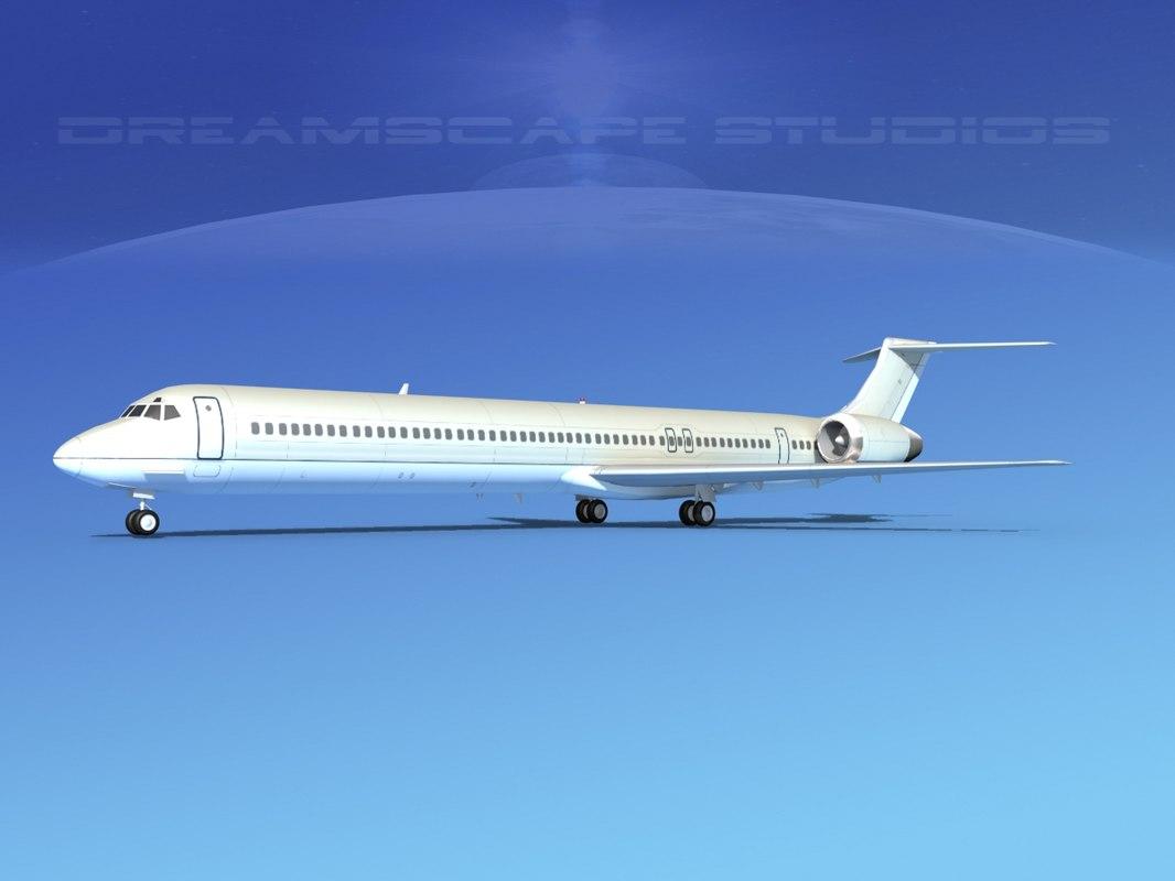md-90 jet commercial 3d obj