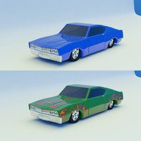 3d car blue green model