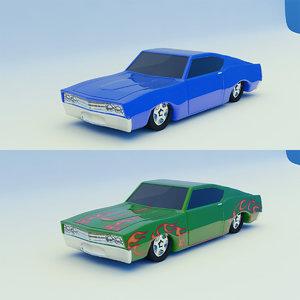 3d car blue green model