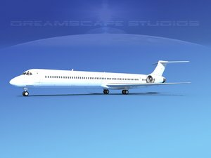 3d model of md-90 jet commercial