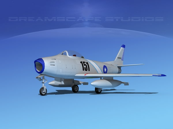 3d north american f-86 sabre model