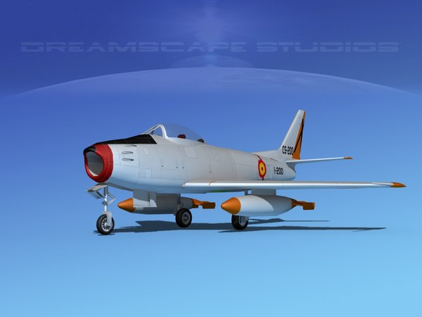 north american f-86 sabre 3d model