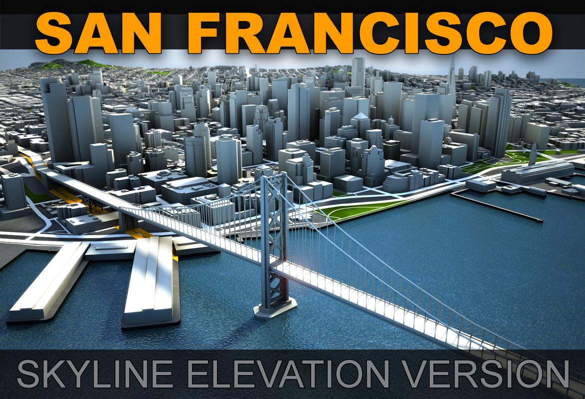 3d san francisco skyline elevation