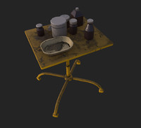 abandoned little table 3d obj