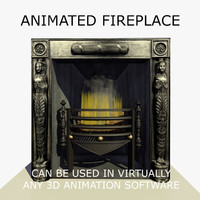 c4d art deco fireplace animation flames