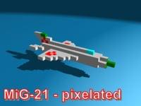 3d pixelated mig-21