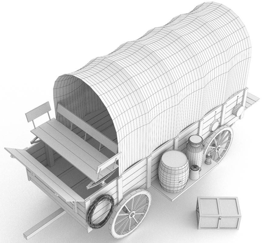 wagon western 3d max