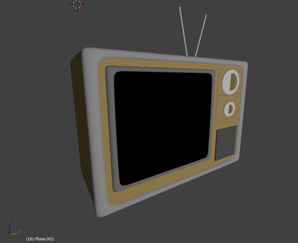 3d old retro tv 1950 model