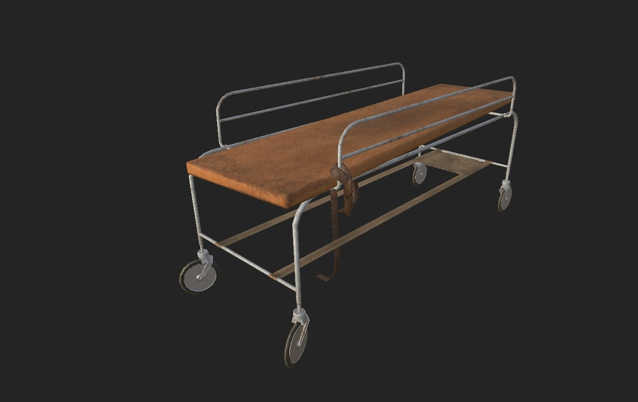 3d model abandoned surgery bed 03