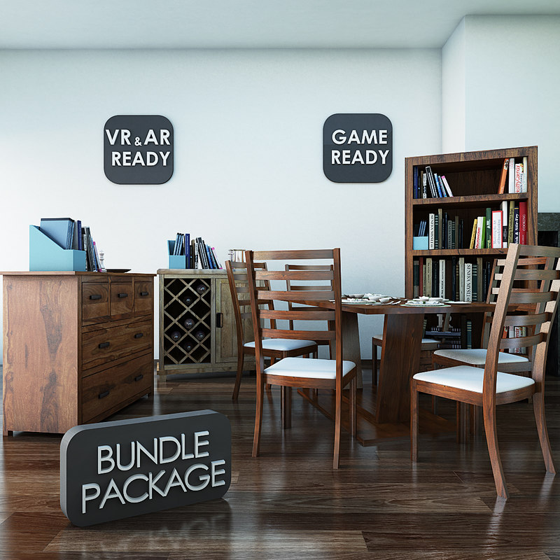 3d model of furniture package games cabinet