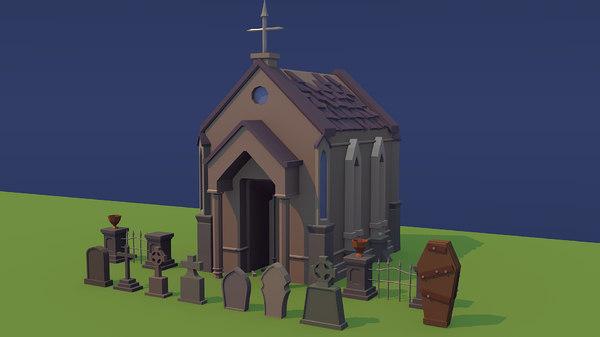 cemetery graves coffin 3d model