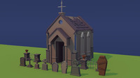 cemetery graves coffin 3d model
