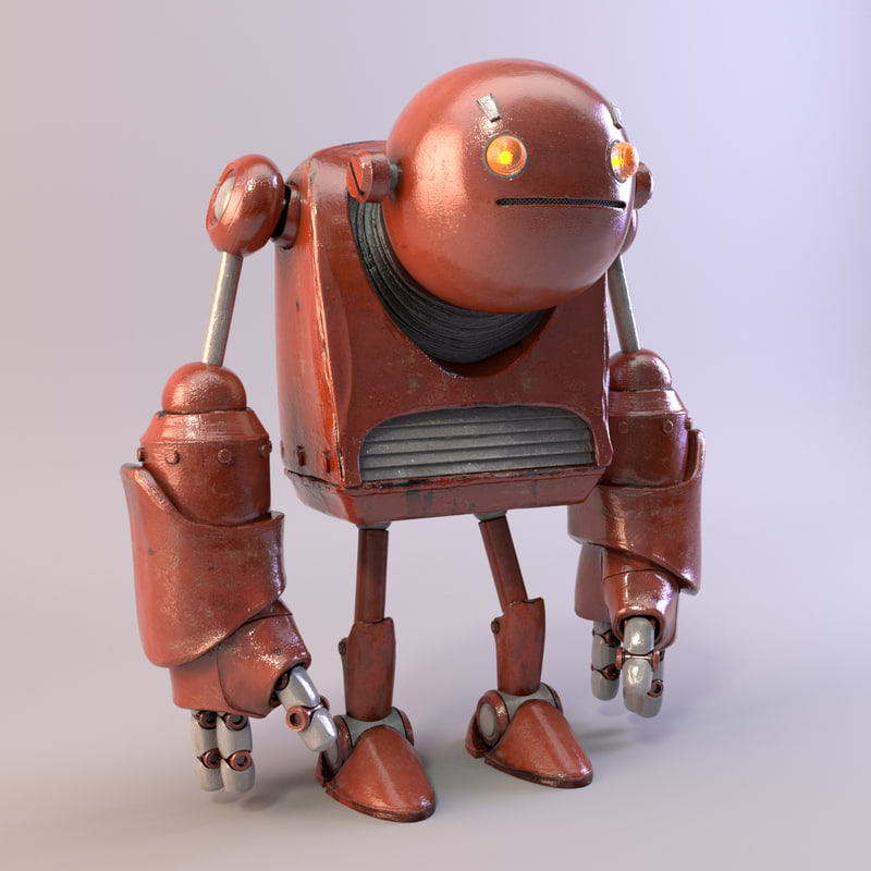 robot realistic metal 3d model