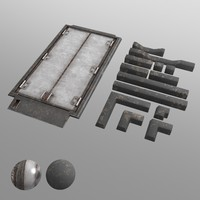 3d floor door hatch trim model